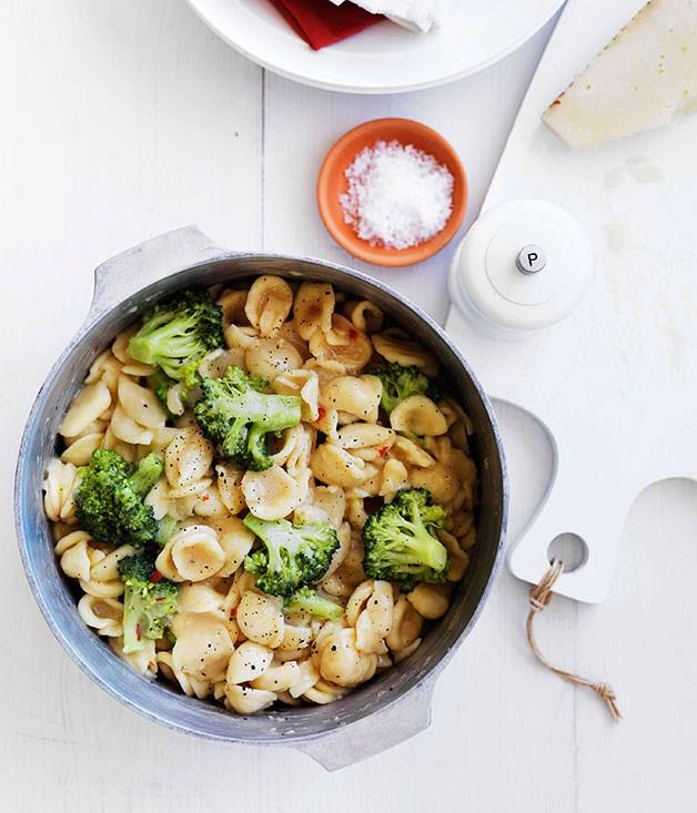 "[**Orecchiette with broccoli, chilli and pecorino**](https://www.gourmettraveller.com.au/recipes/fast-recipes/orecchiette-with-broccoli-chilli-and-pecorino-13178|target=""_blank"")"