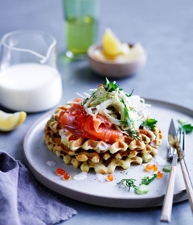 "[**Buttermilk waffles with cured ocean trout and fennel salad**](https://www.gourmettraveller.com.au/recipes/browse-all/buttermilk-waffles-with-cured-ocean-trout-and-fennel-salad-12050|target=""_blank"")"