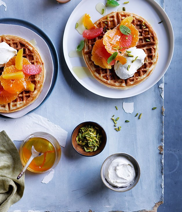 "[**Citrus waffles with honey labne**](https://www.gourmettraveller.com.au/recipes/browse-all/citrus-waffles-with-honey-labne-12053|target=""_blank"")"