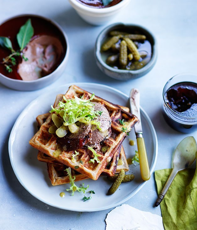 "[**Overnight rye waffles with pâté, port jelly and cornichons**](https://www.gourmettraveller.com.au/recipes/browse-all/overnight-rye-waffles-with-pate-port-jelly-and-cornichons-12049|target=""_blank"")"