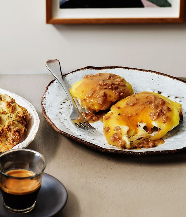 "[**Duck-fat scones, smoked cheese, sausage gravy and fried eggs**](https://www.gourmettraveller.com.au/recipes/chefs-recipes/duck-fat-scones-smoked-cheese-sausage-gravy-and-fried-eggs-8088|target=""_blank"")"