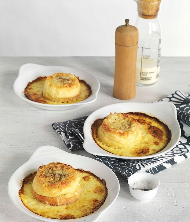 **Double-baked Gruyere souffle**