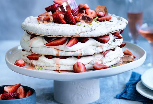 Pistachio and strawberry vacherin and other ideas to spoil Mum this Mother's Day.