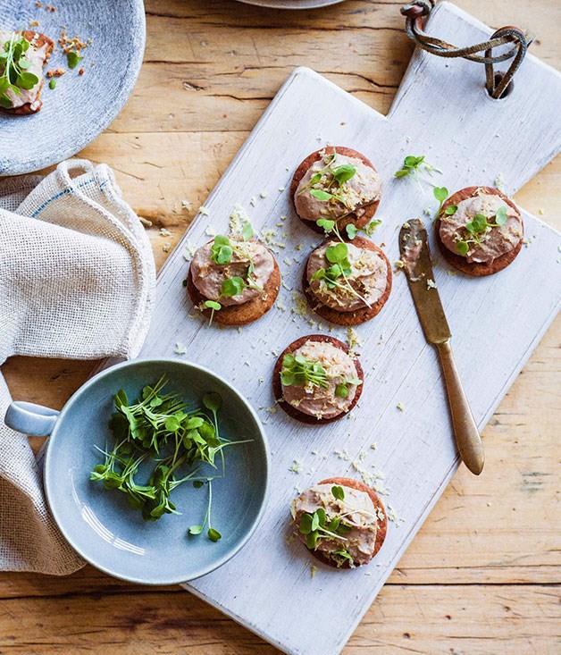 "[**Chicken liver parfait with chestnut biscuits**](https://www.gourmettraveller.com.au/recipes/browse-all/chicken-liver-parfait-with-chestnut-biscuits-11388|target=""_blank"")"