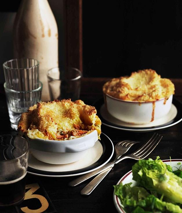 """[**Fish pies with lettuce heart and herb salad**](https://www.gourmettraveller.com.au/recipes/chefs-recipes/fish-pies-with-lettuce-heart-and-herb-salad-9085