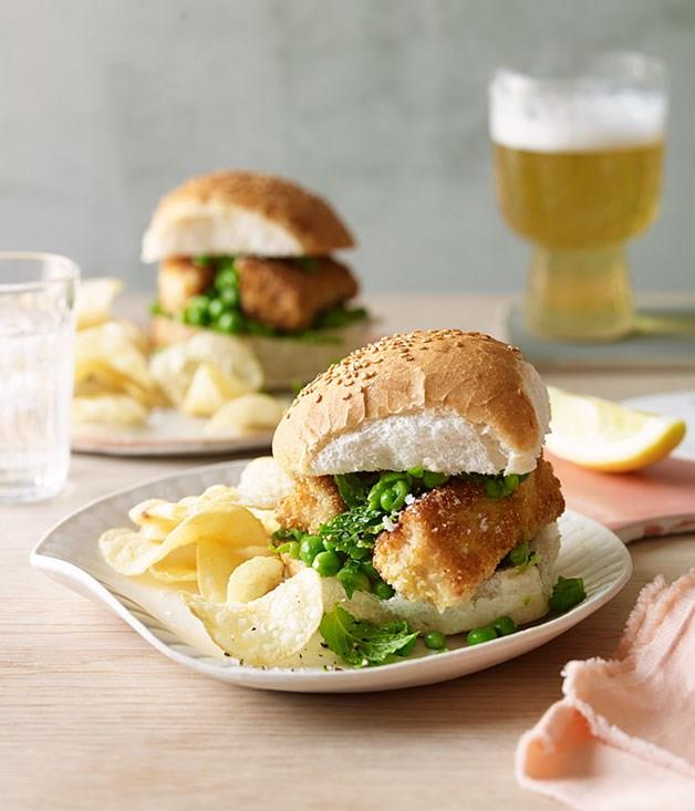 """[**Fish finger and crushed-pea rolls**](https://www.gourmettraveller.com.au/recipes/browse-all/fish-finger-and-crushed-pea-rolls-11883
