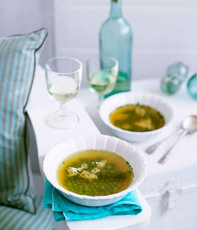 **Lobster broth with peas**