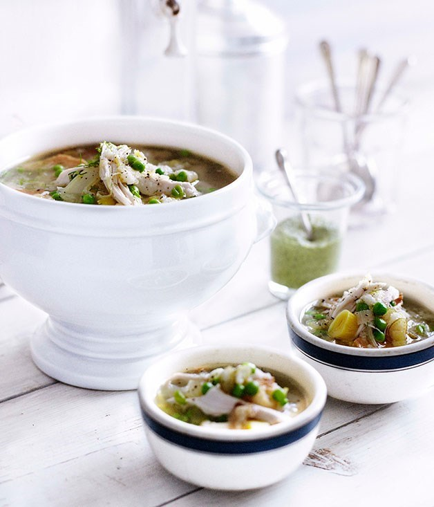 **Chicken, pea and fennel broth with tarragon sauce**