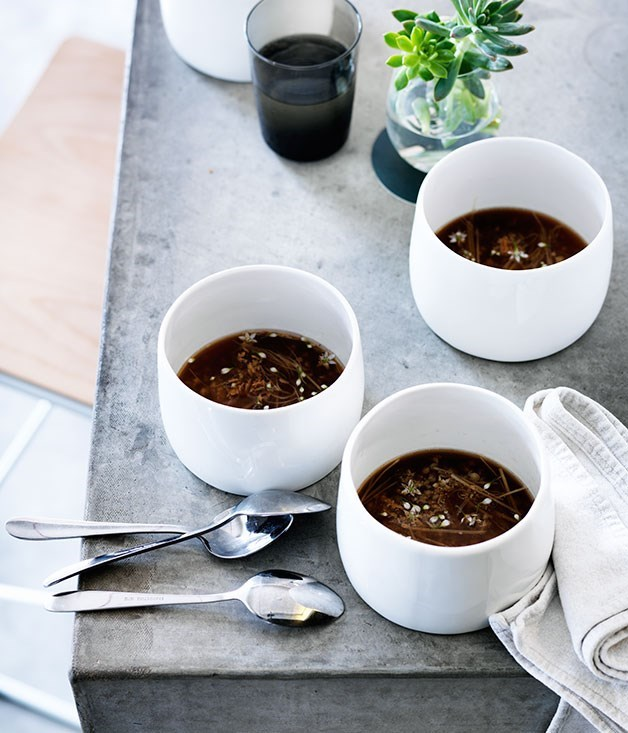 "[**Salted pork and mushroom broth with ginger and buckwheat**](https://www.gourmettraveller.com.au/recipes/chefs-recipes/salted-pork-and-mushroom-broth-with-ginger-and-buckwheat-8249|target=""_blank"")"