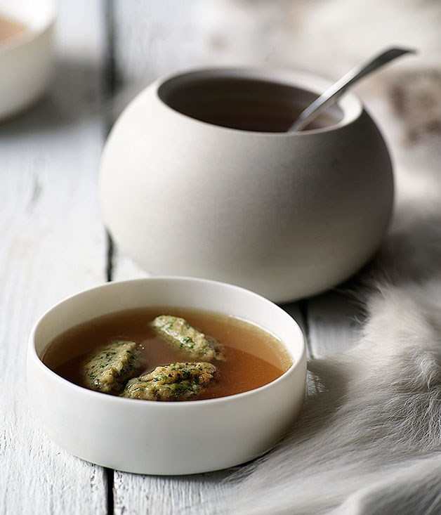 "[**Chicken broth with bone marrow dumplings**](https://www.gourmettraveller.com.au/recipes/browse-all/chicken-broth-with-bone-marrow-dumplings-9673|target=""_blank"")"