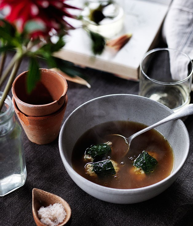 "[**Rabbit broth with rabbit and barley dumplings**](https://www.gourmettraveller.com.au/recipes/chefs-recipes/rabbit-broth-with-rabbit-and-barley-dumplings-8067|target=""_blank"")"