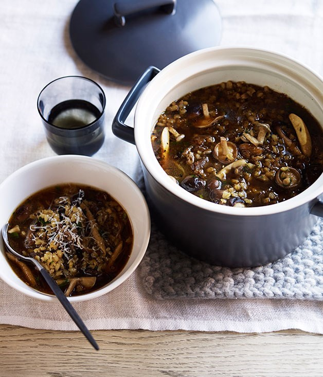 "[**Barley, mushroom and beef broth**](https://www.gourmettraveller.com.au/recipes/browse-all/barley-mushroom-and-beef-broth-12293|target=""_blank"")"