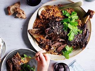 Eight hour lamb shoulder with Israeli couscous and labne