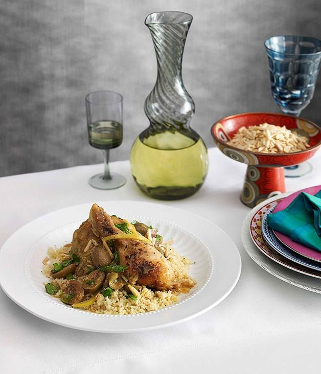 **Chicken and lemon tagine with cracked green olives**