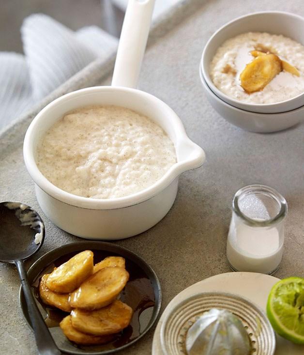**Tapioca porridge with brown sugar bananas**