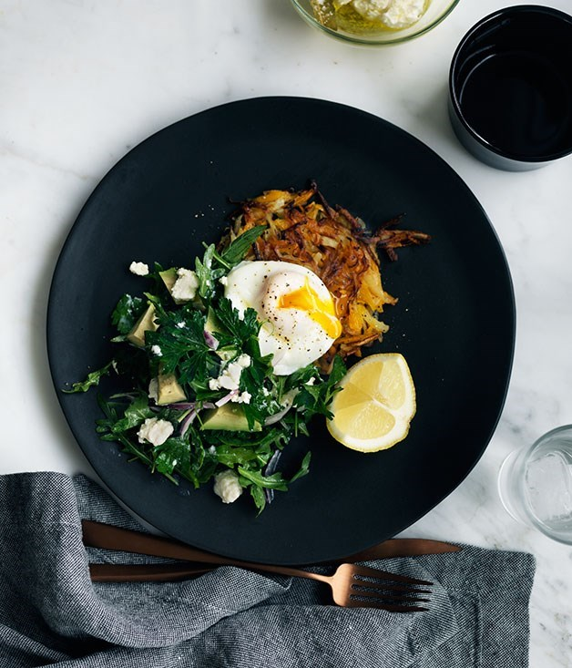 **Pumpkin rösti with poached egg and mint feta and avocado salad**