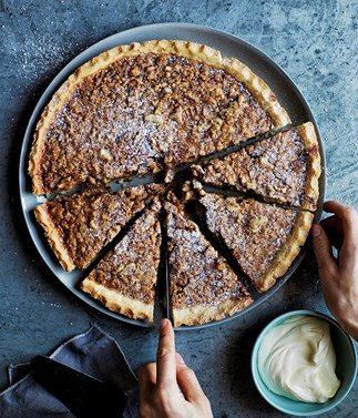 Walnut, whiskey and salted caramel pie