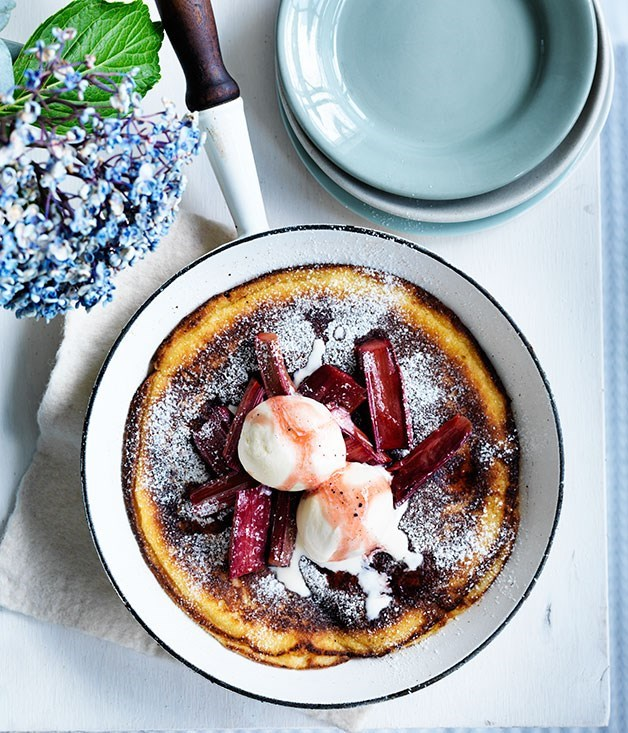 **Thick ricotta pancake with roast rhubarb**