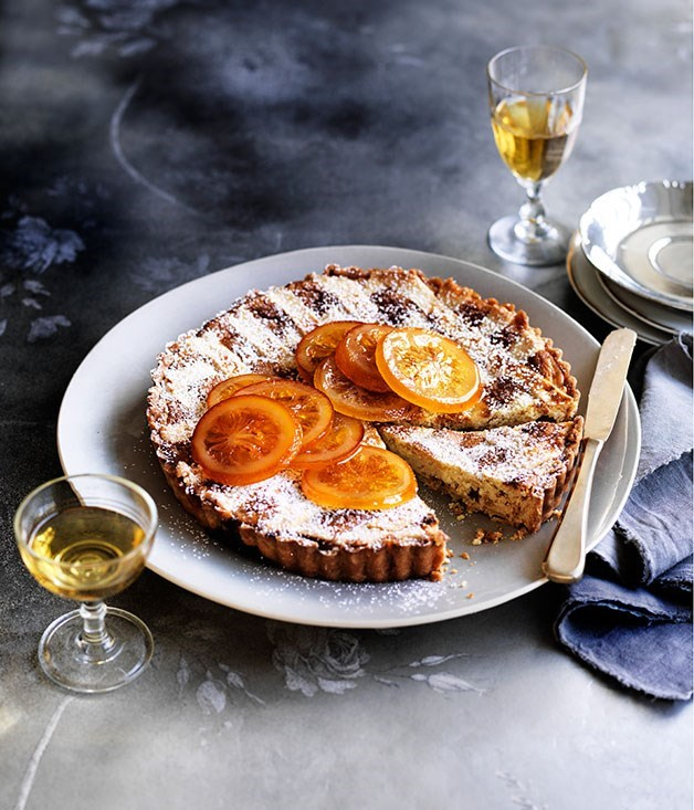 **Ricotta, candied orange and Marsala crostata**