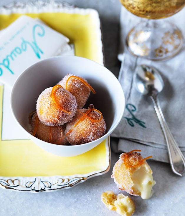 Ricotta fritters with lime curd and candied grapefruit