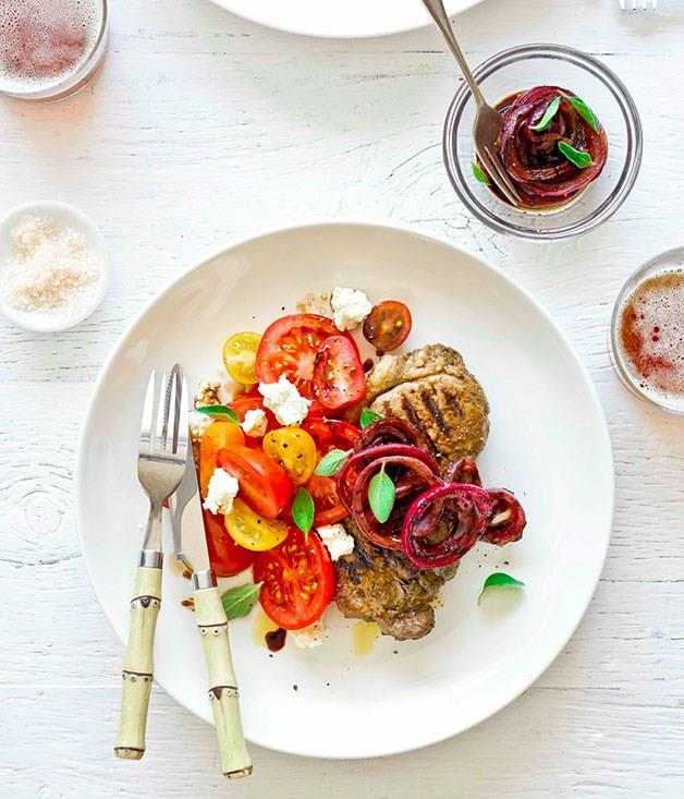 "[**Sirloin steaks with tomato, ricotta and quick onion pickle**](https://www.gourmettraveller.com.au/recipes/fast-recipes/sirloin-steaks-with-tomato-ricotta-and-quick-onion-pickle-13340|target=""_blank"")"