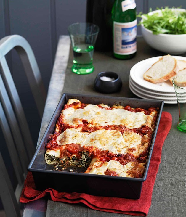"[**Bitter greens and ricotta cannelloni**](https://www.gourmettraveller.com.au/recipes/browse-all/bitter-greens-and-ricotta-cannelloni-10750|target=""_blank"")"
