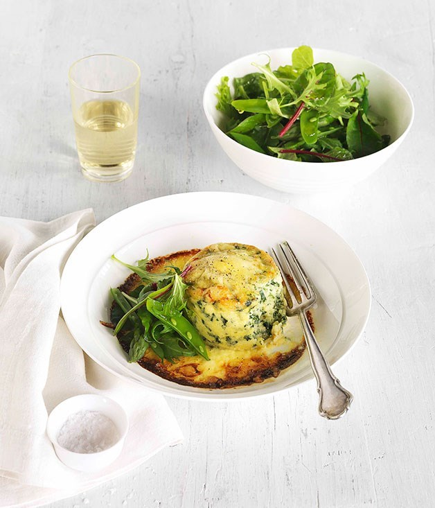 "[**Double-baked spinach and ricotta soufflé**](https://www.gourmettraveller.com.au/recipes/browse-all/double-baked-spinach-and-ricotta-souffle-14126|target=""_blank"")"