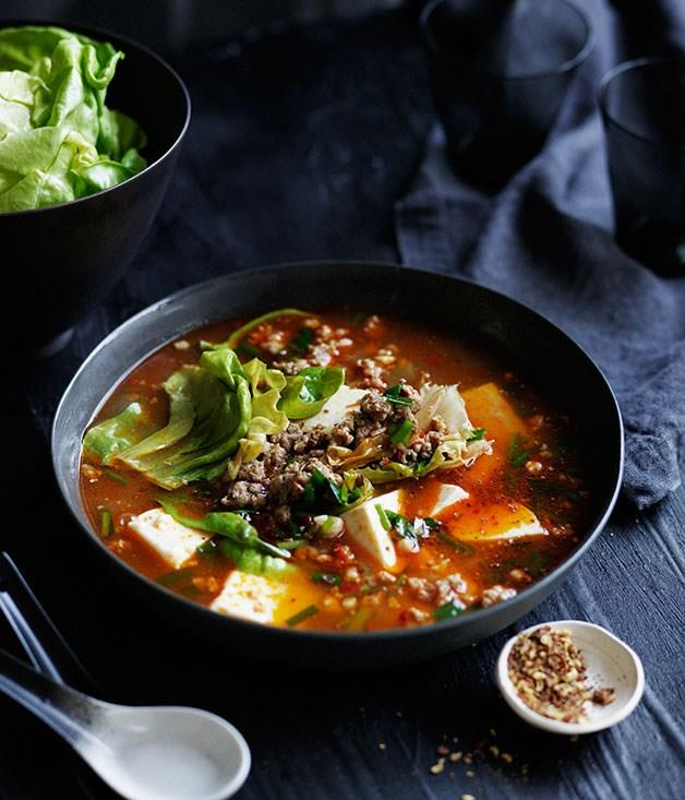 "[**Spicy Sichuan-style soup with pork, lettuce and soft tofu**](https://www.gourmettraveller.com.au/recipes/browse-all/spicy-sichuan-style-soup-with-pork-lettuce-and-soft-tofu-11882|target=""_blank"")"
