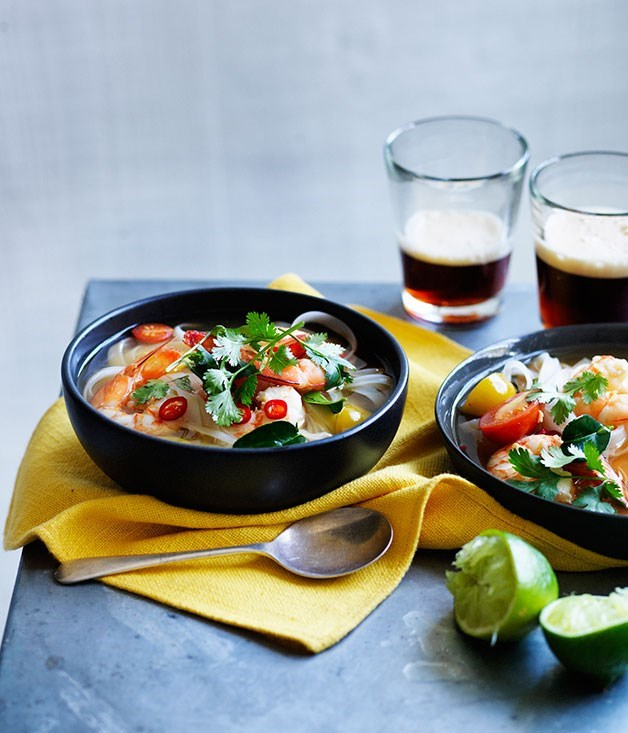 **Prawn and pineapple tom yum with rice noodles**