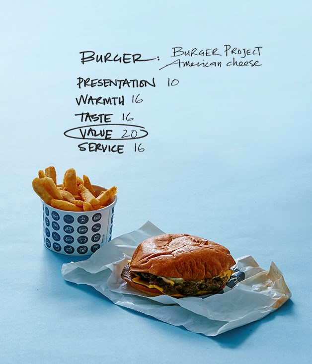**BURGER PROJECT** _World Square, lvl 1, 644 George St, Sydney, burgerproject.com   _   **Delivery service:** Deliveroo   **Price:** $13.40 with chips, plus $5 delivery   **Distance travelled:** 750m   **Delivery time:** 24 minutes  **COMMENTS**   Given that Burger Project burgers are served in paper sleeves rather than boxes, they're not the most delivery-friendly. Sadly, a good chunk of cheese remained on the sleeve when the burger was removed. Nothing irreparable, but it had definitely been shaken by the ride. Despite it being a little more deflated than the eat-in versions, the burger tasted more or less the same as you'd expect in-store - a medium-rare patty with lots of pickles and onion. The chips came in a small cup: they were crisp, lightly salted and, most importantly, arrived warm. Deliveroo originally proposed 75 minutes for delivery, but luckily, it was way off, only taking 24 minutes in the end.  **Score: 78/100**  deliveroo.com.au/menu/sydney/sydney/the-burger-project