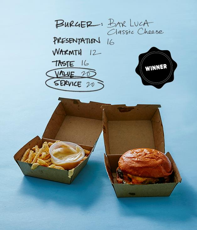 **BAR LUCA BURGERS** _1/151 Oxford St, Darlinghurst, (02) 9357 4527, [blburgers.com.au](http://blburgers.com.au/)_  **Delivery service:** Foodora   **Price:** $17 with chips, plus $5 delivery   **Distance travelled:** 1.7km   **Delivery time:** 19 minutes  **COMMENTS**   Aside from an escape attempt by a rogue pickle or two, Bar Luca's classic wagyu cheeseburger arrived tall and plump thanks to a sturdy cardboard fortress. The patty was as rare as it should be, though not as hot as you might expect from such a quick turnaround. The accompanying fries were heavily seasoned with herb salt (herbs on chips: just say no), but the size and juiciness of the burger made up for any lost points. Bar Luca is known around town as not being shy with the sauce or cheese, and it didn't disappoint. We'd order seconds, no question.  **Score: 84/100**  [foodora.com.au/restaurant/a1oo/bl-burgers](https://www.foodora.com.au/restaurant/a1oo/bl-burgers)