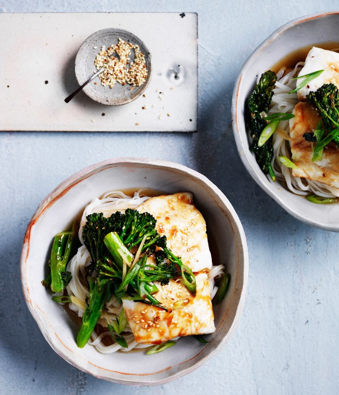 Roast fish with soy, noodles and broccolini