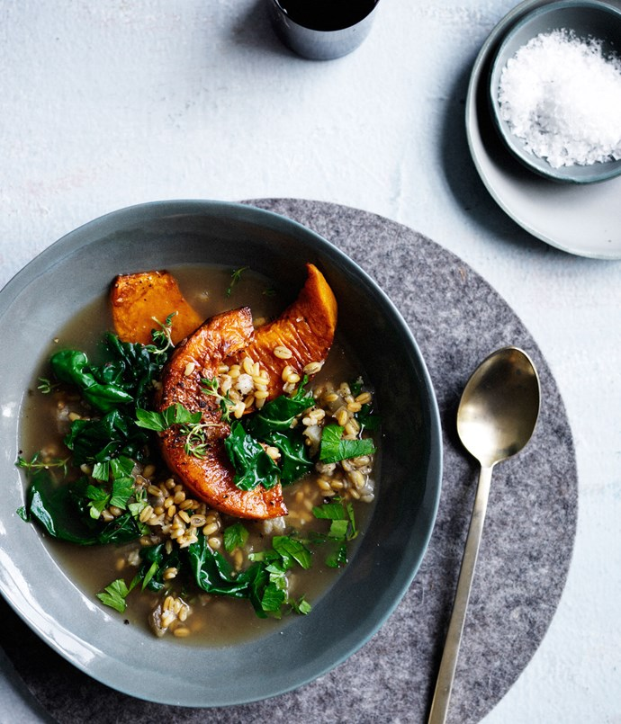 "**[Silverbeet, pumpkin and farro broth](https://www.gourmettraveller.com.au/recipes/fast-recipes/silverbeet-pumpkin-and-farro-broth-13732|target=""_blank"")**"