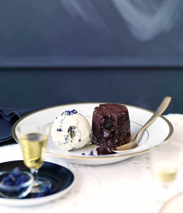 **Chocolate-violet fondant with creme fraiche ice-cream**