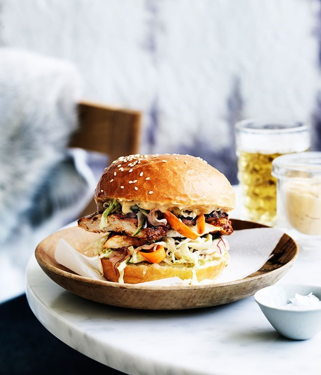 "[**Dirty bird (chicken burger)**](https://www.gourmettraveller.com.au/recipes/chefs-recipes/dirty-bird-chicken-burger-9173|target=""_blank"")"