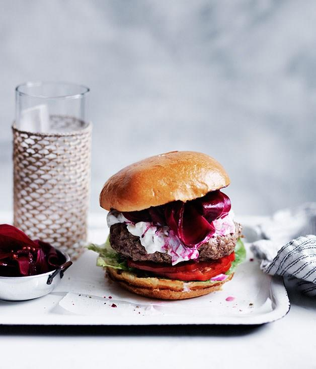 "[**Burgers with pickled beetroot**](https://www.gourmettraveller.com.au/recipes/fast-recipes/burgers-with-pickled-beetroot-13675|target=""_blank"")"