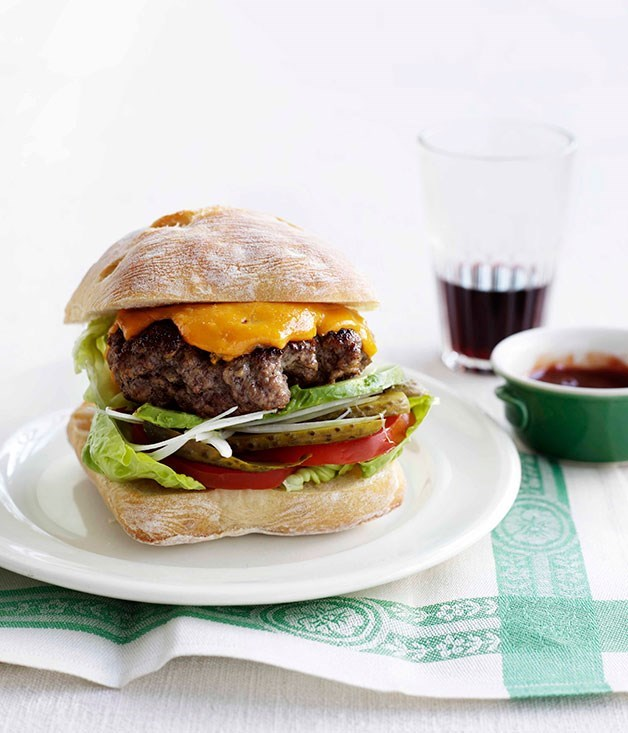 **Beef burger with blue cheddar and dill pickles**