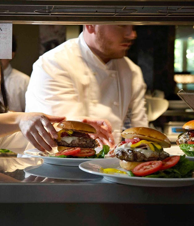 "[**Rockpool Bar & Grill's wagyu hamburger with bacon, Gruyère and Zuni pickle**](https://www.gourmettraveller.com.au/recipes/chefs-recipes/rockpool-bar-and-grill-wagyu-hamburger-with-bacon-gruyere-and-zuni-pickle-7686|target=""_blank"")"