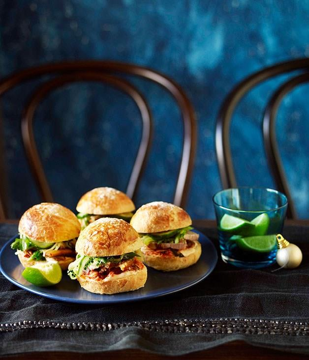 "[**Roast pork belly and kimchi burgers**](https://www.gourmettraveller.com.au/recipes/chefs-recipes/roast-pork-belly-and-kimchi-burgers-9010|target=""_blank"")"