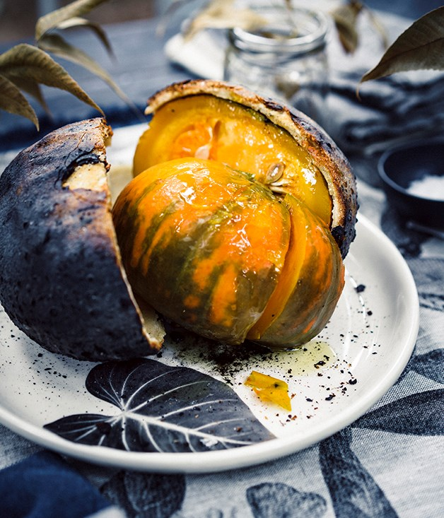 Salt-baked pumpkin with Pyengana cream and toasted grains