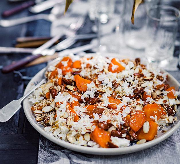 Peter Gilmore's roasted carrots with feta, almonds and sherry caramel