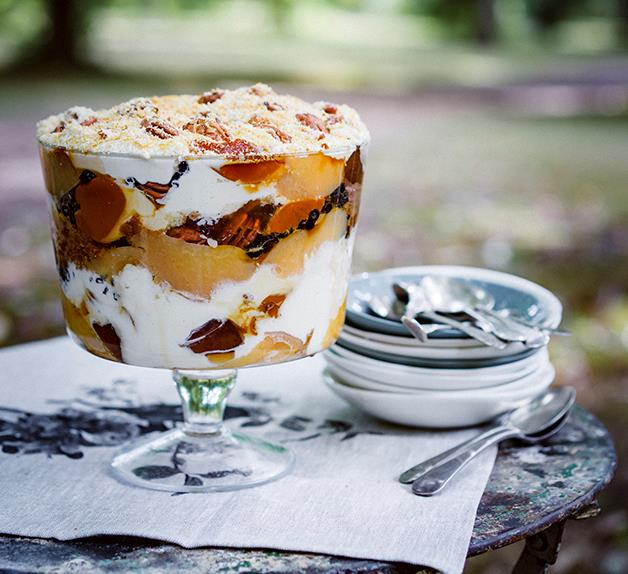 Quince, pecan and crème caramel trifle with Gretchen's honey cream