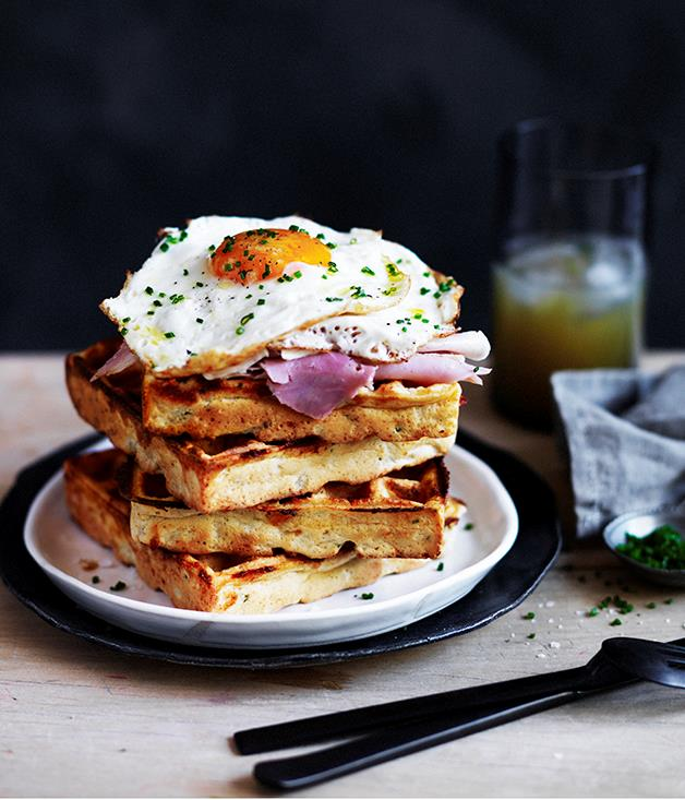 "[Cheesy polenta waffles with fried egg and ham](http://www.gourmettraveller.com.au/recipes/browse-all/cheesy-polenta-waffles-with-fried-egg-and-ham-12521|target=""_blank"")"