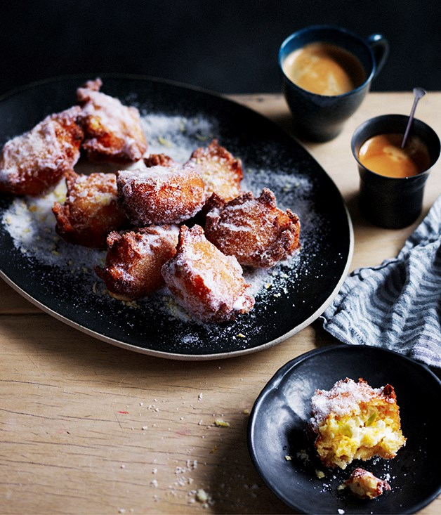 """**[Polenta, apple and ricotta fritters](https://www.gourmettraveller.com.au/recipes/browse-all/polenta-apple-and-ricotta-fritters-12531