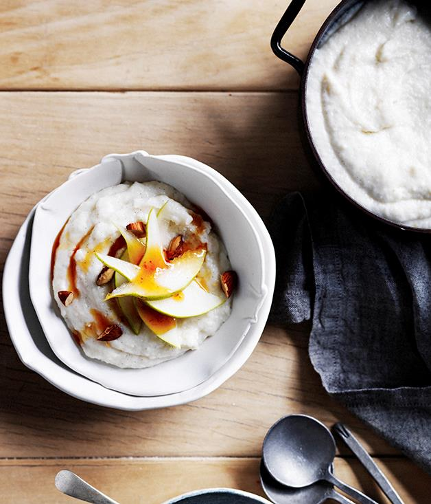 "**[White breakfast polenta with pears, burnt honey and almonds](https://www.gourmettraveller.com.au/recipes/browse-all/white-breakfast-polenta-with-pears-burnt-honey-and-almonds-12519|target=""_blank""