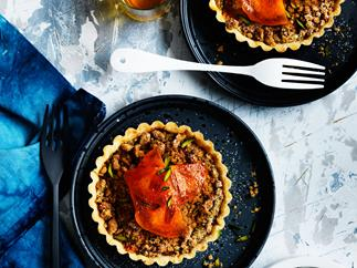 Persimmon, pistachio and ginger crumble tarts