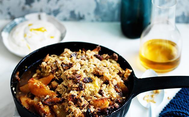 Maple pear and muesli crumble