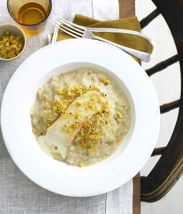 **Cauliflower and Taleggio risotto with anchovy pangratto**