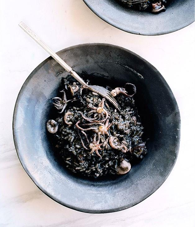 "[**Squid ink risotto**](https://www.gourmettraveller.com.au/recipes/browse-all/squid-ink-risotto-10152|target=""_blank"")"