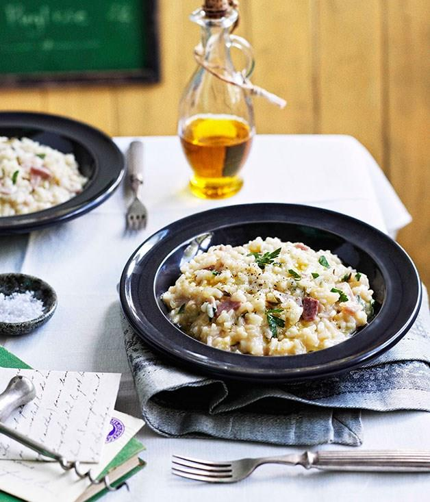 "[**Ham, Fontina and rosemary risotto**](https://www.gourmettraveller.com.au/recipes/chefs-recipes/ham-fontina-and-rosemary-risotto-7720|target=""_blank"")"
